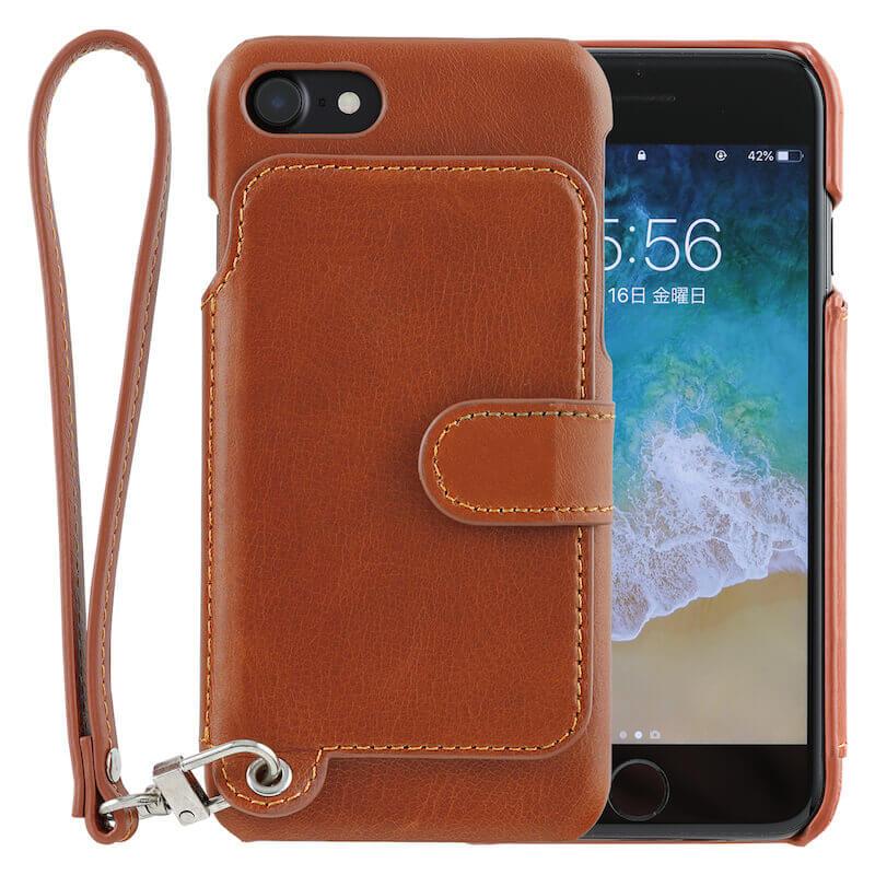 RAKUNI(ラクニ)iPhone7、iPhone8、iPhoneケース、iPhoneカバー、キャラメルブラウン(オレンジ茶
