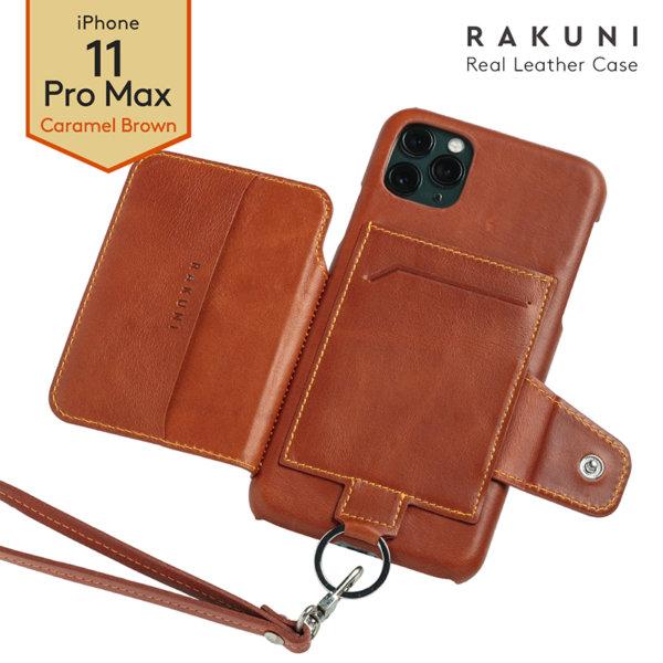RAKUNI iPhone11promax用 iPhoneケース ブラウン 茶 本革 レザー 高級 財布、背面手帳型、背面フリップ、背面ポケット、便利、人気、モデル、インフルエンサー