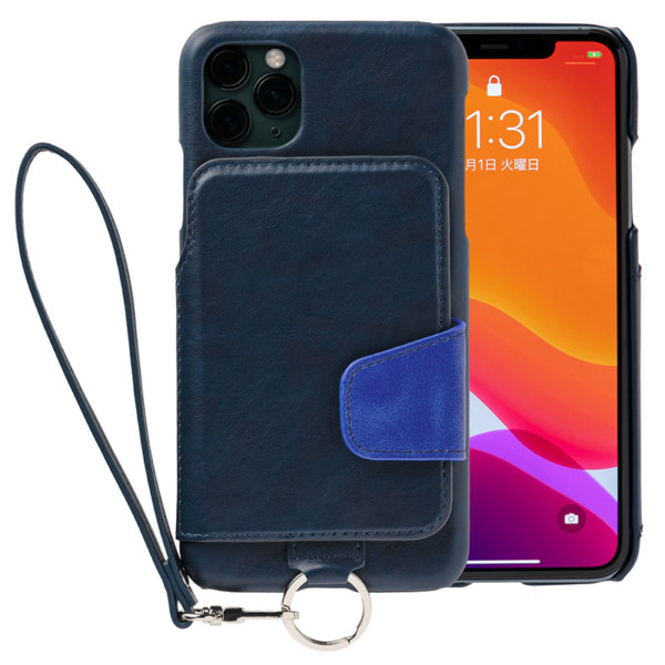 RAKUNI iPhone11promax用 iPhoneケース ネイビー 青 財布、背面手帳型、背面フリップ、背面ポケット、便利、人気、モデル、インフルエンサー
