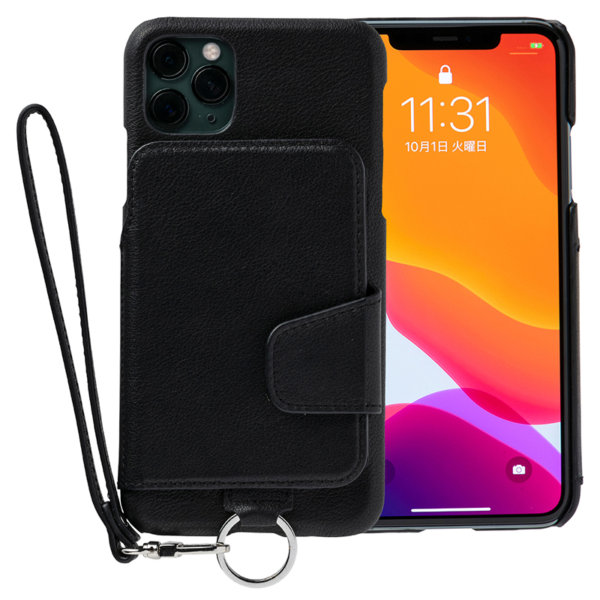 RAKUNI iPhone11promax用 iPhoneケース ブラック 黒 本革 レザー 高級 財布、背面手帳型、背面フリップ、背面ポケット、便利、人気、モデル、インフルエンサー