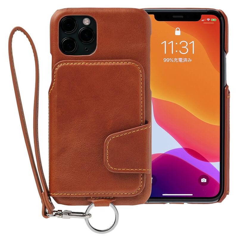 RAKUNI iPhone11Pro用 iPhoneケース ブラウン(茶)財布、背面手帳型、背面フリップ、背面ポケット、便利、人気、モデル、インフルエンサー