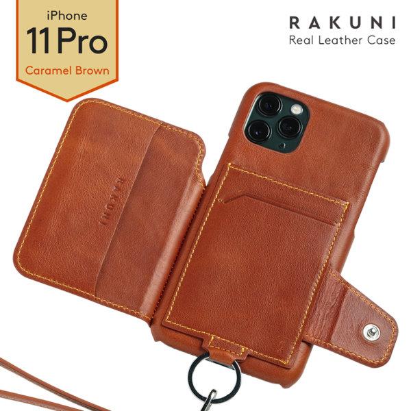 RAKUNI iPhone11Pro用 iPhoneケース ブラウン(茶)財布、背面手帳型、背面フリップ、背面ポケット、便利