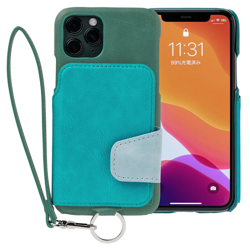 RAKUNI iPhone11Pro用 iPhoneケース グリーン(緑) 財布、背面手帳型、背面フリップ、背面ポケット、便利、人気、モデル、インフルエンサー