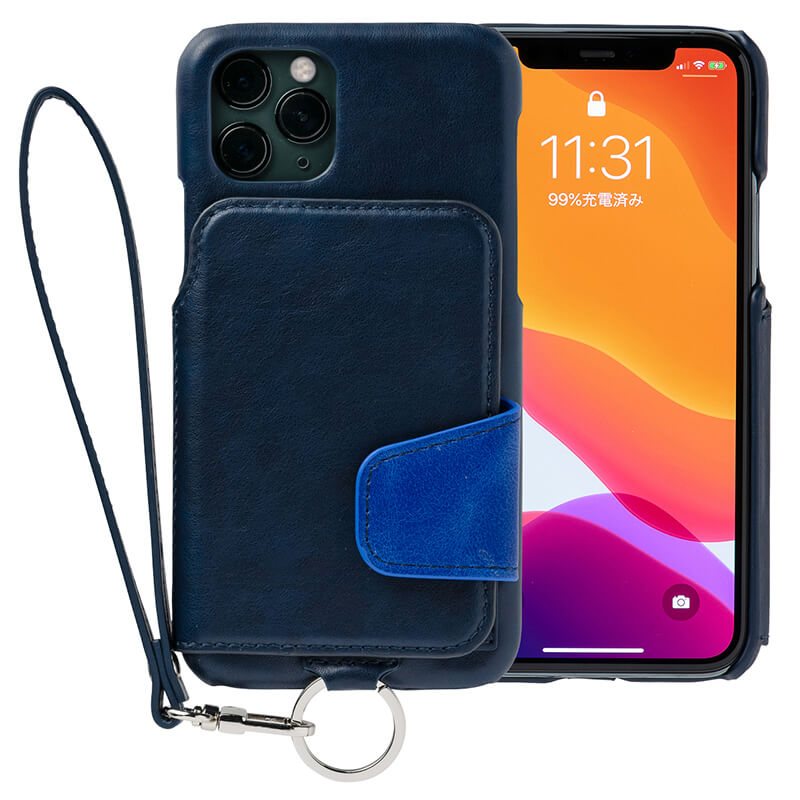 RAKUNI iPhone11Pro用 iPhoneケース ネイビー(青)財布、背面手帳型、背面フリップ、背面ポケット、便利、人気、モデル、インフルエンサー