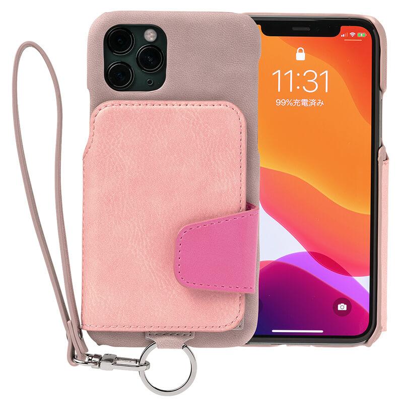 RAKUNI iPhone11Pro用 iPhoneケース ピンク 財布、背面手帳型、背面フリップ、背面ポケット、便利、人気、モデル、インフルエンサー