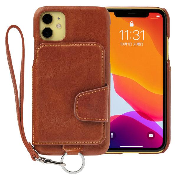 RAKUNI iPhone11用 iPhoneケース ブラウン 茶 本革 レザー 高級 財布、背面手帳型、背面フリップ、背面ポケット、便利、人気、モデル、インフルエンサー