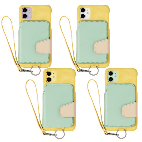 RAKUNI iPhone11用 iPhoneケース 背面ポケット 財布 財布一体 背面手帳型 背面フリップ 便利 人気 モデル インフルエンサー 緑 グリーン 黄 イエロー マルチカラー
