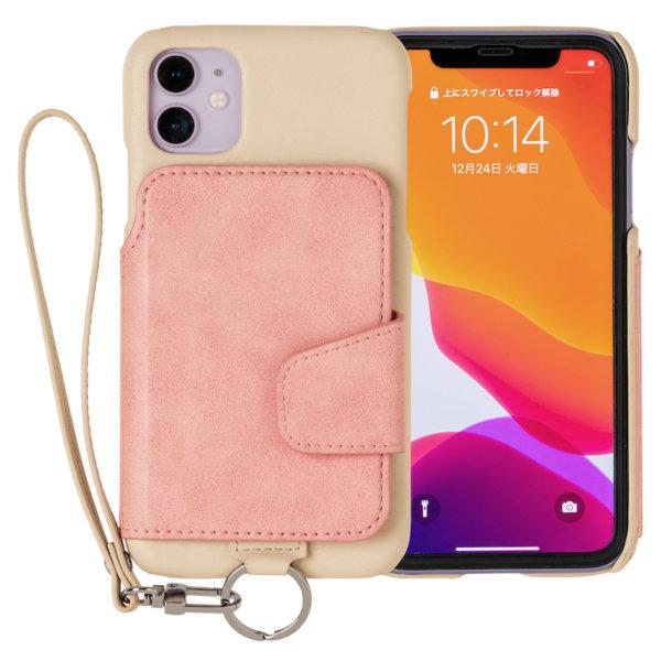 RAKUNI iPhone11用 iPhoneケース 背面ポケット 財布 財布一体 背面手帳型 背面フリップ 便利 人気 モデル インフルエンサー ピンク
